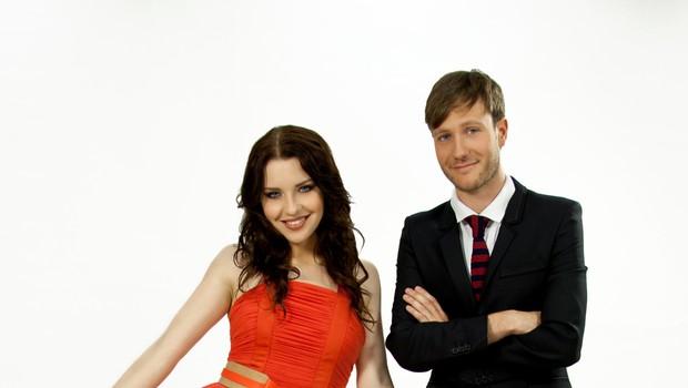 Klemen Slakonja in Maja Keuc v oddaji Misija Evrovizija (foto: Žiga Culiberg)