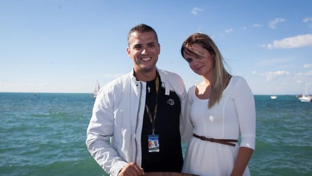 Direktor TV 3 Medias Bojan Umer in voditeljica U3P-a Aida Smajić.