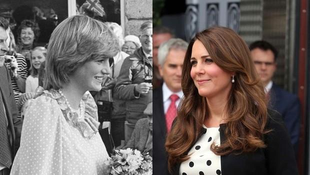 Na fotografiji levo princesa Diana leta 1982, na fotografiji desno Kate aprila 2013 (foto: Profimedia)