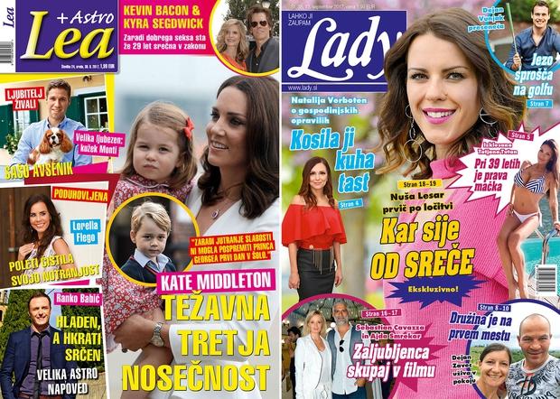 Kate Middleton se v nosečnosti spopada s težavami! Nuša Lesar kar sije od sreče! Izšli sta Lea in Lady! (foto: revija Lady, revija Lea)