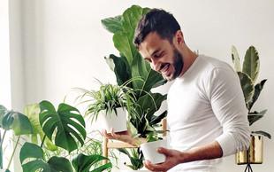 Moški, ki ljubi zelenje: V bogati zbirki rastlin je samo ena cvetoča