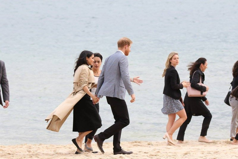 Meghan in Harry na plazi