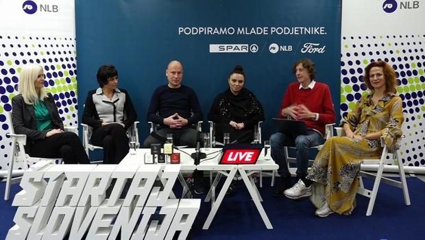 Jure in Vanja Rainer (4kidsandus) z Matijo Goljarjem in gosti na Roadshow Live! (foto: Štartaj Slovenija Facebook)