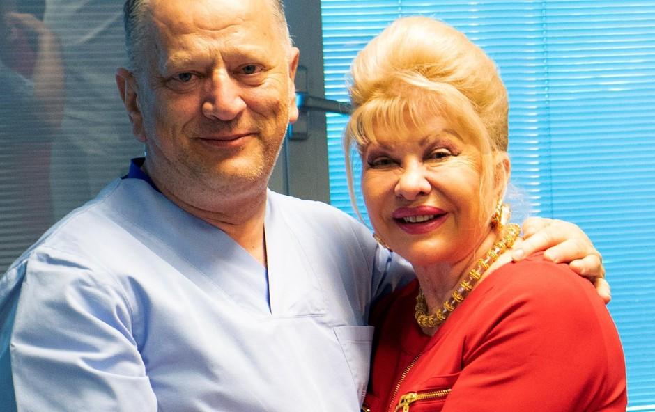 Ivana Trump se je odločila, da  svoje oči zaupa hrvaškemu  strokovnjaku, dr. prof.  znanosti Nikici Gabriću,  direktorju Klinike Svjetlost. (foto: osebni arhiv)